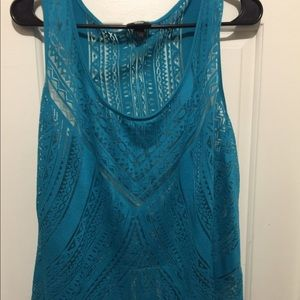 Mossimo Blue Swimwear Cover Top Sheer Chic Design
